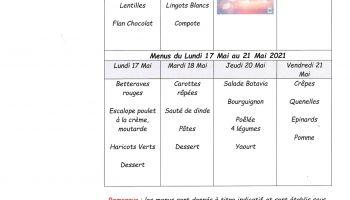 menus cantine treteau