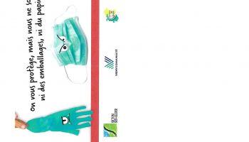 Tri  gants, masques et mouchoirs